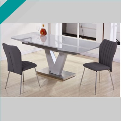 Eliza Grey Mn Furniture Uk, Sarah Extending Glass Dining Table With 6 Romeo Chairs