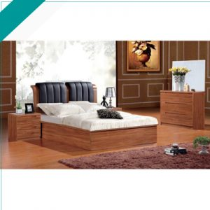 WALNUT BED (BLACK LEATHER)